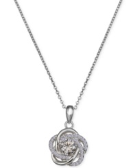 Macy's Cubic Zirconia Love Knot Pendant Necklace In Sterling Silver No Color