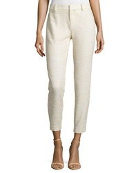 Haute Hippie Lace Cropped Trouser Pants Buff