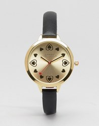 Johnny Loves Rosie Gold Heart Watch Black Gold