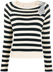 Semicouture Embellished Striped Pullover 60