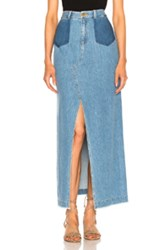 Sea Maxi Slit Denim Skirt In Blue