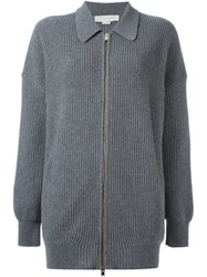 Stella Mccartney Collared Zip Up Cardigan Grey