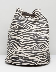 Mi Pac Tumbled Swing Backpack In Zebra Print Black