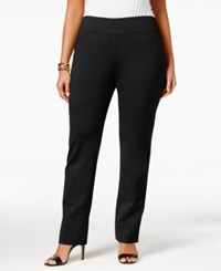 Charter Club Plus Size Cambridge Tummy Control Ponte Pants Only At Macy's Deep Black