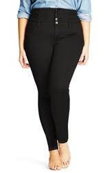 City Chic Plus Size Women's Harley Corset Skinny Jeans Black