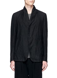 The Viridi Anne Washed Linen Soft Blazer Black