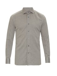 Ermenegildo Zegna Herringbone Cotton Button Cuff Shirt