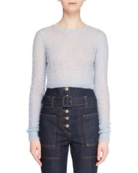 Carven Cropped Long Sleeve Wool Pullover Sweater Light Blue