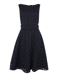 Hugo Boss Sleeveless Lace Fit And Flare Dress With Belt Blue