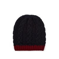 Barneys New York Cable Stitch Cashmere Beanie Navy