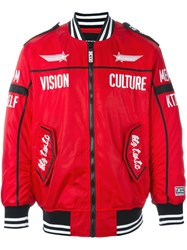 Ktz Zipped Biker Jacket Red