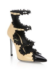 Rene Caovilla Beaded Ribbon Trimmed Leather Cap Toe Pumps Beige Black