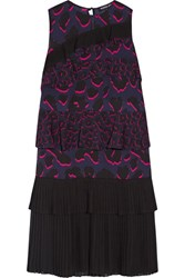 Markus Lupfer Tiered Ruffled Leopard Print Silk Georgette Dress Purple