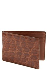 Men's Boconi Crocodile Slimfold Wallet Brown Tan