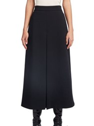Saint Laurent Inverted Pleat Wool Skirt Black