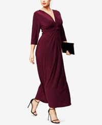 Love Squared Plus Size Three Quarter Sleeve Knotted Maxi Dress Wine