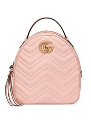 Gucci Pink Leather Gg Marmont Backpack Leather Metal Microfibre Pink Purple