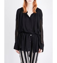 Ann Demeulemeester Thelma Oversized Shirt Black And Geza White