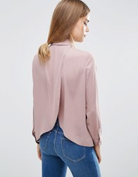 Asos Blouse With Wrap Back Winter Lilac Purple
