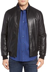 Bugatchi Men's Leather Jacket With Woven Panels