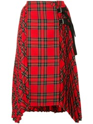 Sjyp High Waisted Pleated Skirt Red