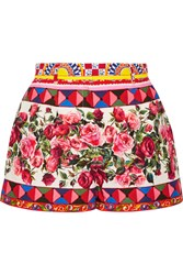 Dolce And Gabbana Printed Cotton Poplin Shorts Pastel Pink