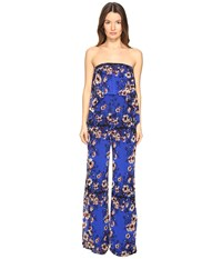 Fuzzi Strapless Flower Jumpsuit Bluette Women's Jumpsuit And Rompers One Piece