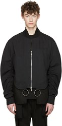 D.Gnak By Kang.D Black Shirring Sleeves Bomber Jacket