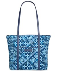 Vera Bradley Small Trimmed Tote Cuban Tiles With Navy