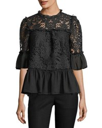 Kate Spade Tapestry Lace Bell Sleeve Peplum Top Black