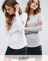 New Look 2 Pack Long Sleeve Top Grey Marl And White