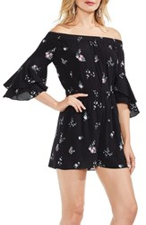 Vince Camuto Off The Shoulder Ruffle Sleeve Floral Romper Rich Black