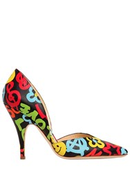 Moschino 100Mm Graffiti Print Leather Pumps