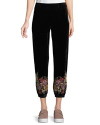 Johnny Was Velvet Jogger Pants With Embroidered Cuffs Black