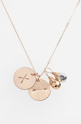 Women's Nashelle Pyrite Initial And Arrow 14K Gold Fill Disc Necklace Gold Pyrite Silver Pyrite X
