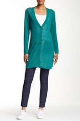 Eileen Fisher V Neck Long Sleeve Linen Blend Cardigan Green