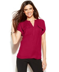 Inc International Concepts Dolman Sleeve Mixed Media Utility Shirt Real Red