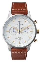 Triwa Snow Nevil Chronograph Leather Strap Watch 42Mm