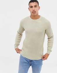 Jack And Jones Originals Knitted Jumper With Ribbed Detail Feather Gray Cream