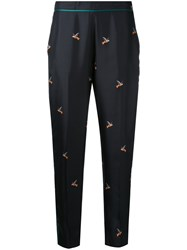 Victoria Beckham Embroidered Tailored Trousers Women Silk Polyester Viscose 8 Black