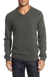 Nordstrom Cashmere V Neck Sweater Regular And Tall Gray