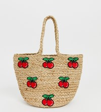 Glamorous Rustic Straw Tote With Cherry Print Beige