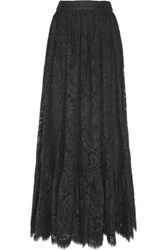 Dolce And Gabbana Cotton Blend Lace Maxi Skirt Black
