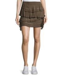 Iro Shelan Tiered Grommet Skirt Khaki