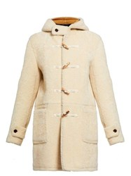 Saint Laurent Toggle Front Shearling Hooded Coat Ivory Multi