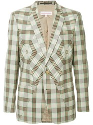 Walter Van Beirendonck Vintage Checked Panel Blazer Brown