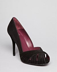 Stuart Weitzman Peep Toe Platform Pumps Dressage High Heel Black
