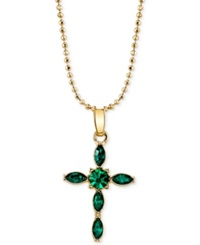Vatican Gold Tone Emerald Green Crystal Cross Pendant