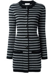 Sonia Rykiel Striped Long Cardigan Black