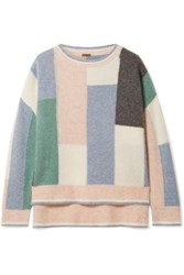 Adam By Adam Lippes Color Block Cashmere And Silk Blend Sweater Blue